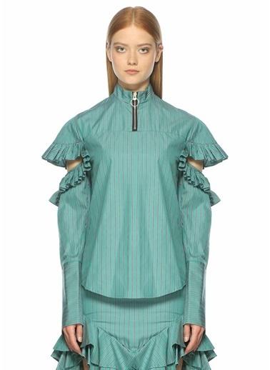 Maggie Marlyn Fırfırlı Çizgi Desenli Gömlek Yeşil